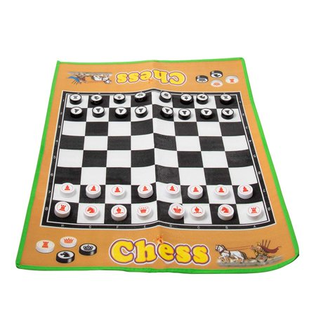Jumbo Chess Carpet - Giant Chessboard with Chess Pieces, Indoor Outdoor Board Game Carpet for Family Fun, Party Decoration, 34 x 26 Inches ()