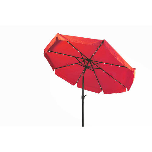 Deluxe Solar Powered LED Lighted Patio Umbrella with Decorative Edges, 9', by Trademark... by Trademark Innovations