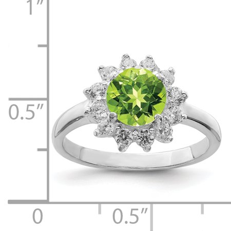 925 Sterling Silver Green Peridot Cubic Zirconia Cz Band Ring Size 8.00 Stone Gemstone Fine Jewelry Gifts For Women For Her - image 2 de 6