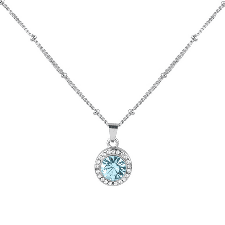 Lux Accessories Aquamarine Aqua March Birthstone Pendant Disc Pave Charm Pendant Necklace Birthday