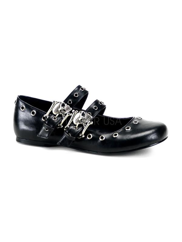 DAI03 B PU Demonia Flats Shoes BLACK Size: 6 by
