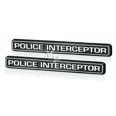 Black & Chrome Police Interceptor Emblems - Pair, Chrome plated Police Interceptor emblems with black background By Daniel Carpenter Reproductions