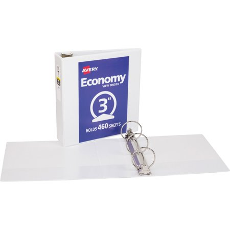 "Avery 3"" Economy View Binder, Round Ring, White, 460 Sheets"