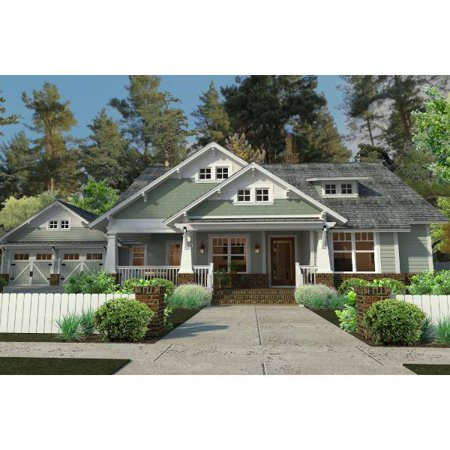 Thehousedesigners 5517 Bungalow Cottage House Plan With Basement Foundation  5 Printed Sets