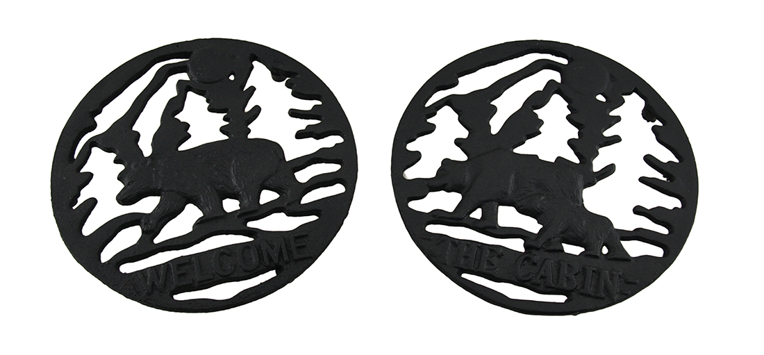 2 Pc. Woodland Black Bear Rustic Welcome and The Cabin Cast Iron Trivet Set by Mayrich Company