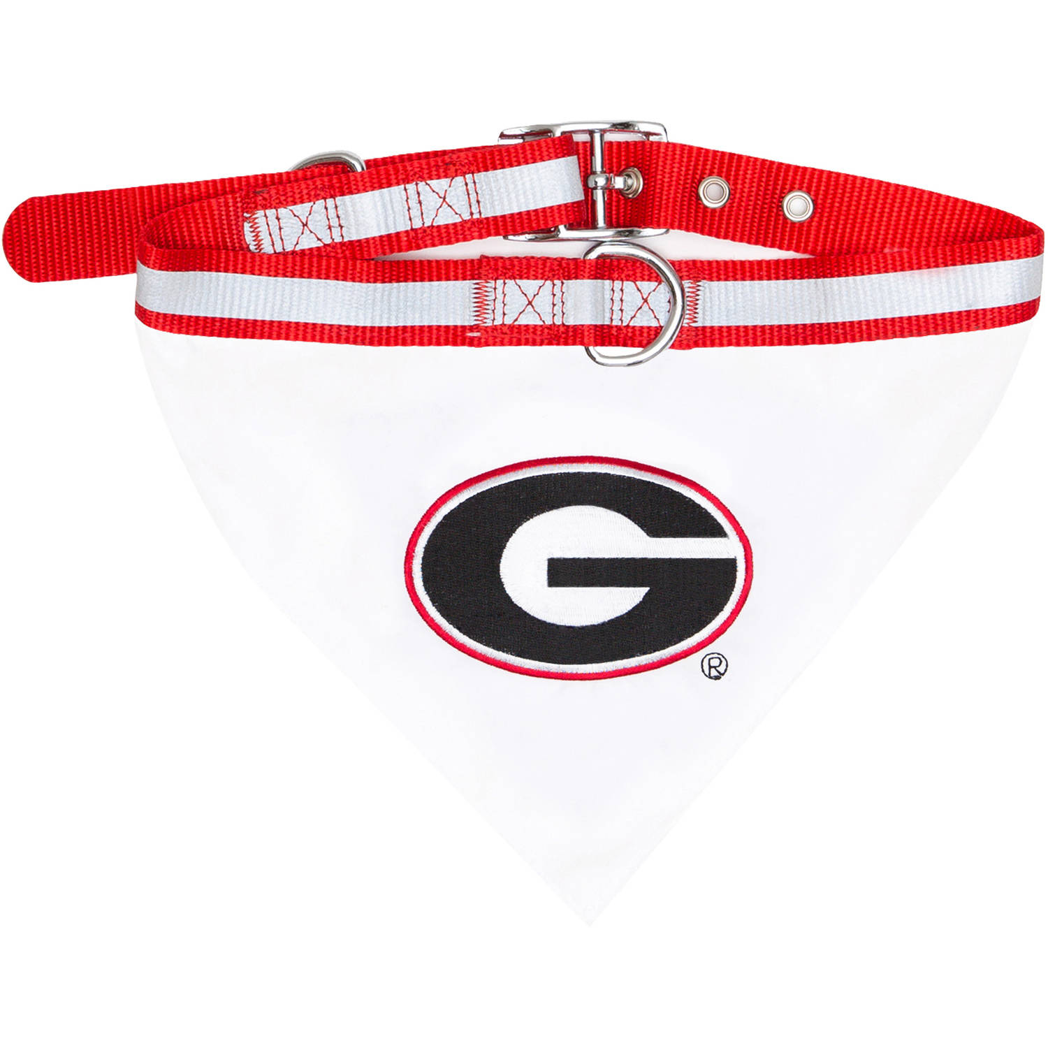 Pets First College Georgia Bulldogs Pet Bandana, 3 Sizes Available. With Collar