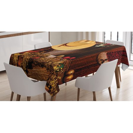 Horse Table Decorations (Western Decor Tablecloth, Farmhouse with Christmas Decorations with Wreath Americana Style Image Print, Rectangular Table Cover for Dining Room Kitchen, 60 X 84 Inches, Cream Brown, by)