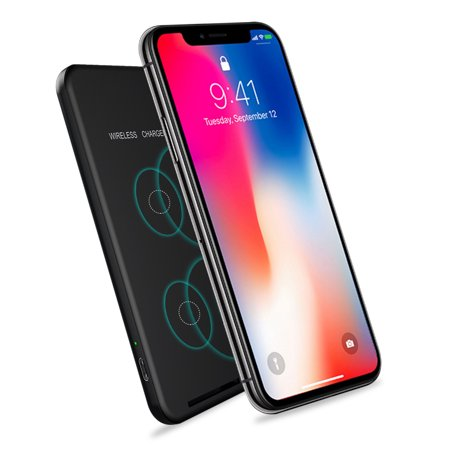 2-in-1 Wireless Charger QI Fast Charging Stand Pad for Apple iPhone X, iPhone 8/8 Plus, Samsung Galaxy Note 8/S8/S8 Plus/S7/S7 Edge/Note 5/S6 Edge Plus, Nexus 6/5 (No AC Adapter) Black ()