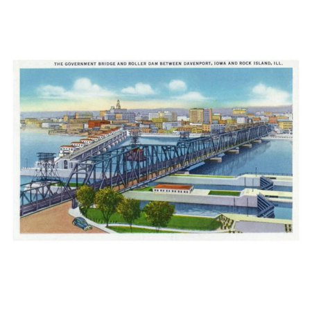 Davenport, Iowa, Aerial View of Bridge and Roller Dam between City and Rock Island, IL Print Wall Art By Lantern Press