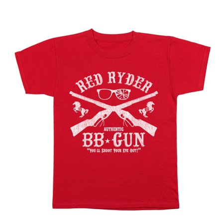 Red Ryder Bb Gun Small Red Youth T-Shirt (Ryder Tee)