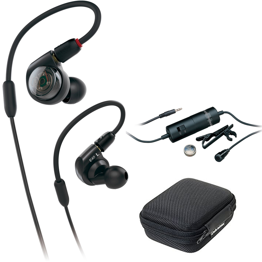 Audio-Technica Professional In-Ear Monitor Headphones (ATH-E40) with Audio-Technica Omnidirectional Condenser Lavalier Microphone