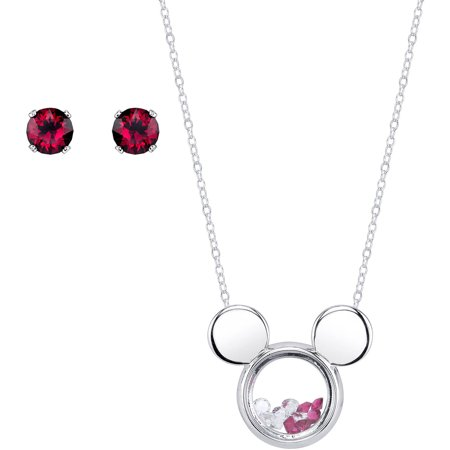 - Disney 5mm Ruby and Clear Crystal Silver-Tone Mickey Mouse Necklace with Post Stud Earrings Set, 18