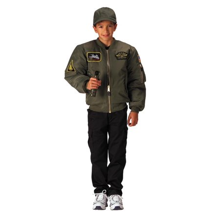 Top Gun Jacket (Kids Sage Top Gun MA-1 Flight Jackets With Patches -)