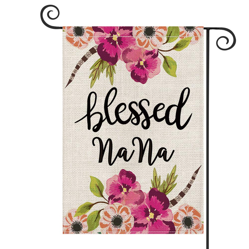 Bless our Home Garden Flag Decoration Flowers with Hanger Yard Lawn Porch Patio
