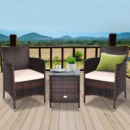 Gymax 3PCS Patio Outdoor Rattan Furniture Set w/ Cushioned Chairs Coffee Table - image 1 of 10