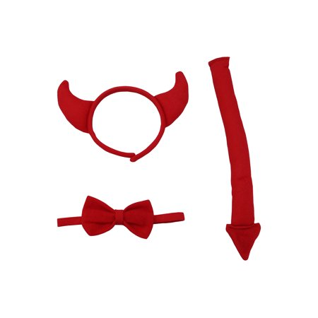 Halloween Devil Horns And Tail (Child Red Devil Satan Horns Headband Bow Tie Tail Costume Kit Set)