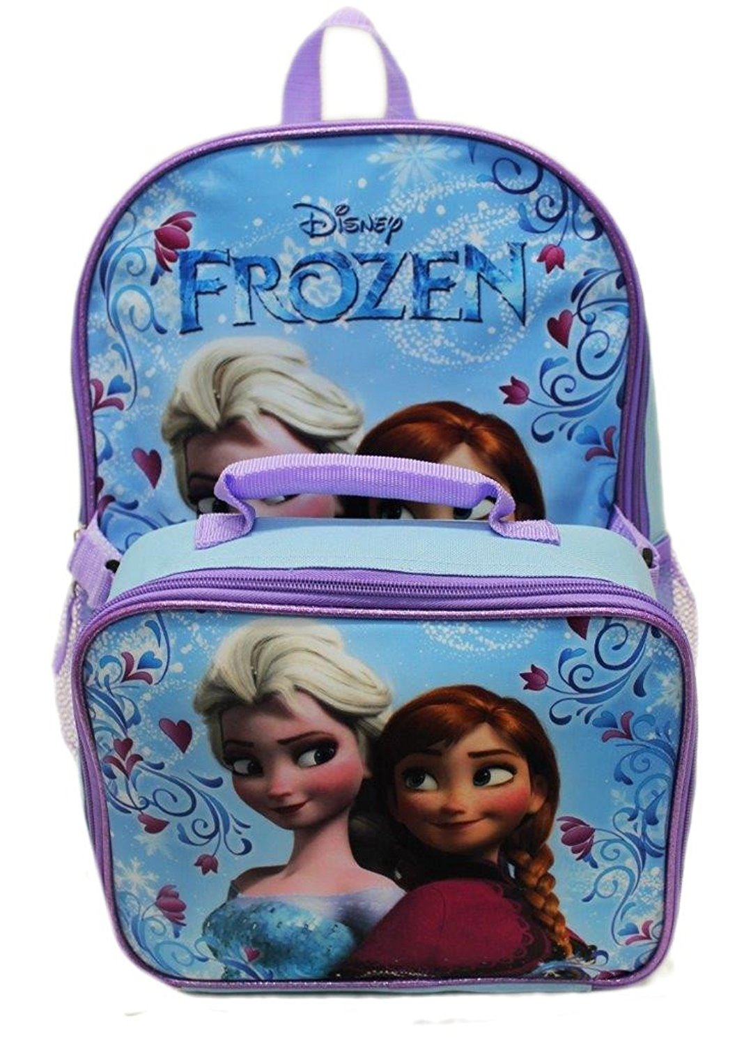"""Disney Frozen Anna Elsa Classic Girls Backpack with Detachable Lunch Kit 15"""""""
