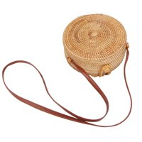 Cluxwal Handwoven Round Rattan Bag Shoulder Leather Straps Natural Chic Handbag