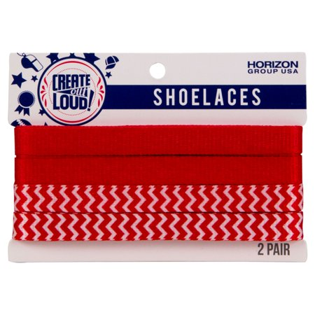 Image of Create Out Loud Shoelace Set in Red & Red/White Chevron Print