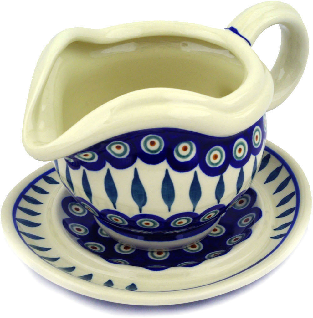 Polish Pottery 21 oz Gravy Boat with Saucer (Peacock Leaves Theme) Hand Painted in Boleslawiec, Poland + Certificate of Authenticity