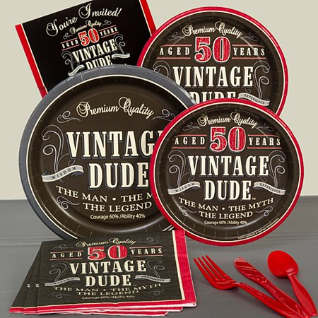 Vintage Dude 50th Basic Party Pack For 8](Vintage Dudes)
