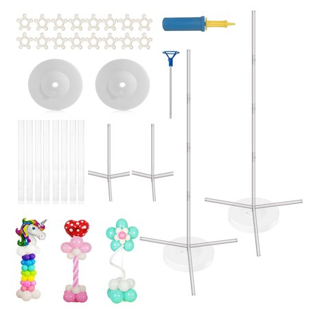 Party Zealot Quick & Easy 2 Set Balloon Column Stand Kit, 2019 Updated, Tripod Sturdy Bases for Outdoor & Indoor Birthday, Baby Shower, Candy Party, Kids Event Balloon Decoration