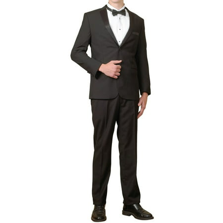 Men's Tuxedo Package | 5 Piece Complete Set | Suit Jacket, Tux Pants, Shirt Cummerbund and Bow Tie