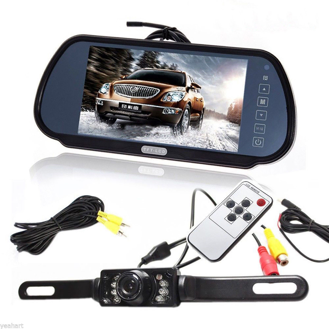 "iMeshbean 7"" LCD Screen Car Rear View Backup Parking Mirror Monitor + Camera Night Vision"