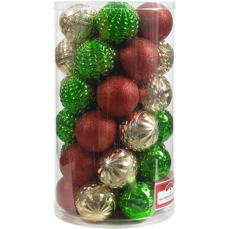 - Holiday Time 41-Piece Shatterproof Ornaments, Red, Green and Gold, Various Textures & Patterns