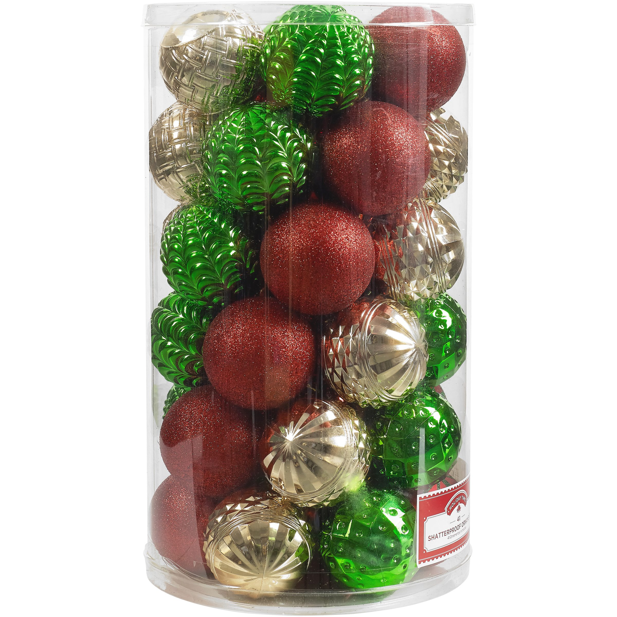 Holiday Time 41-Piece Shatterproof Ornaments, Red, Green and Gold, Various Textures & Patterns
