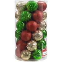 Product Image Holiday Time 41-Piece Shatterproof Ornaments, Red, Green and Gold, Various Textures