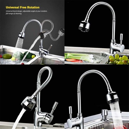 - 360°Rotating Flexible Single Handle Spout Sprayer Kitchen Sink Mixer Faucet Tap Swivel faucetspray Hot and Cold mixer Water Faucet for Commercial and Home Kitchen