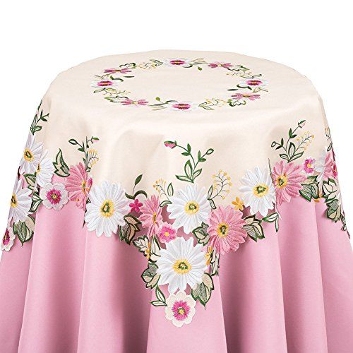 Collections Etc Embroidered Floral Gerbera Daisy Table Linens by Collections Etc