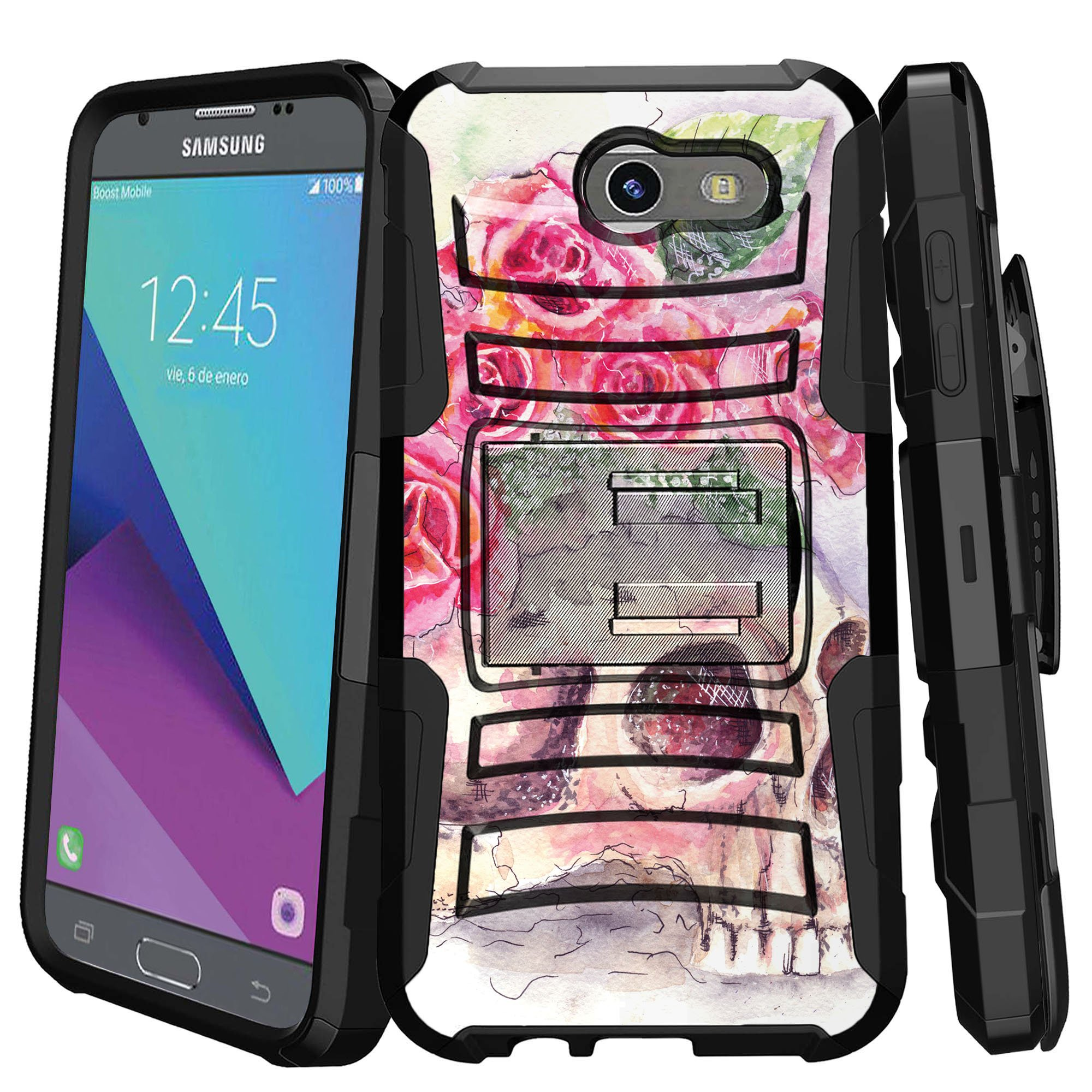 Samsung Galaxy J3 Emerge Case | Galaxy J3 2017 Case | J3 Pro Case [ Armor Reloaded ] Heavy Duty Case with Belt Clip & Kickstand Skull Collection