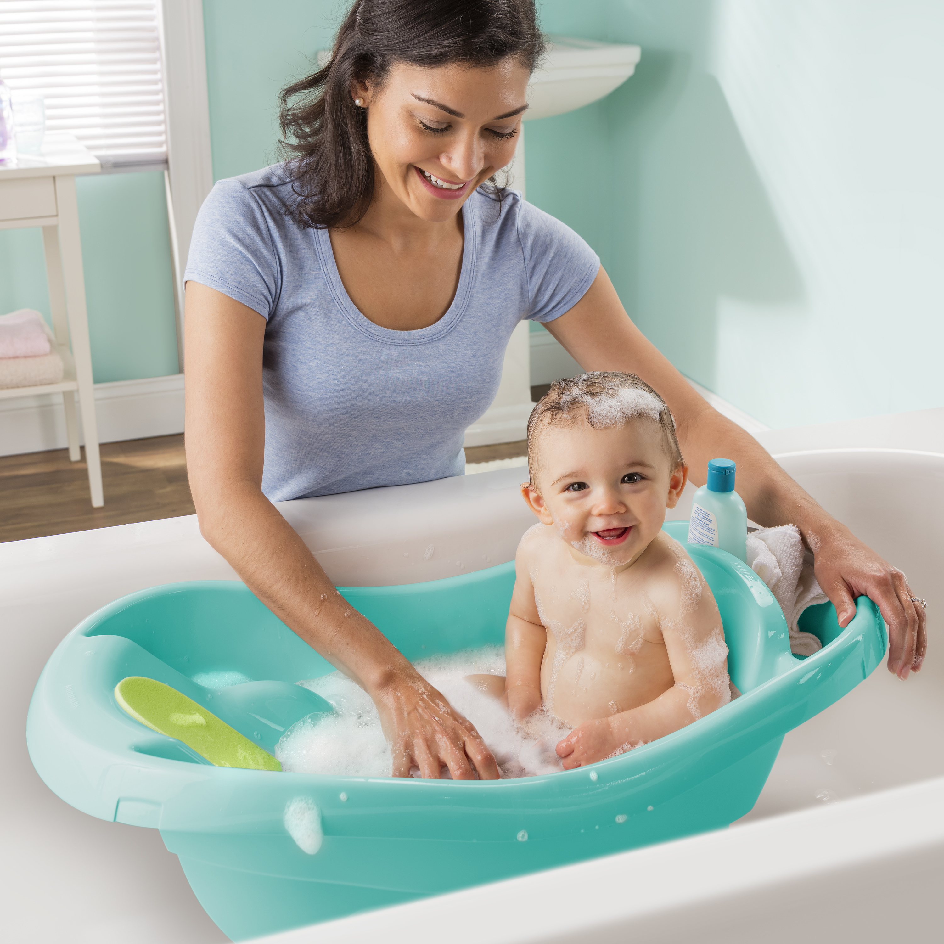 Summer Infant Comfy Clean Deluxe Newborn to Toddler Tub, Teal ...