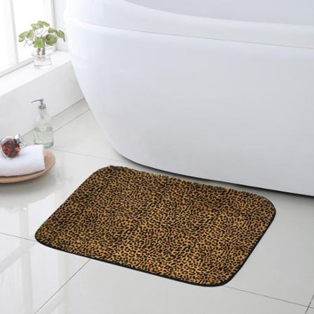 Bed Bath N More Exotic Leopard Print Quick Dry Memory Foam Bathroom Rug 20 Inches Wide X 31 5