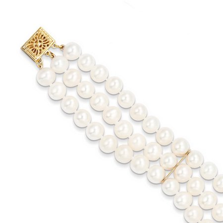 14k Yellow Gold 7in 6-6.5mm 3 Strand Cultured Pearl Bracelet