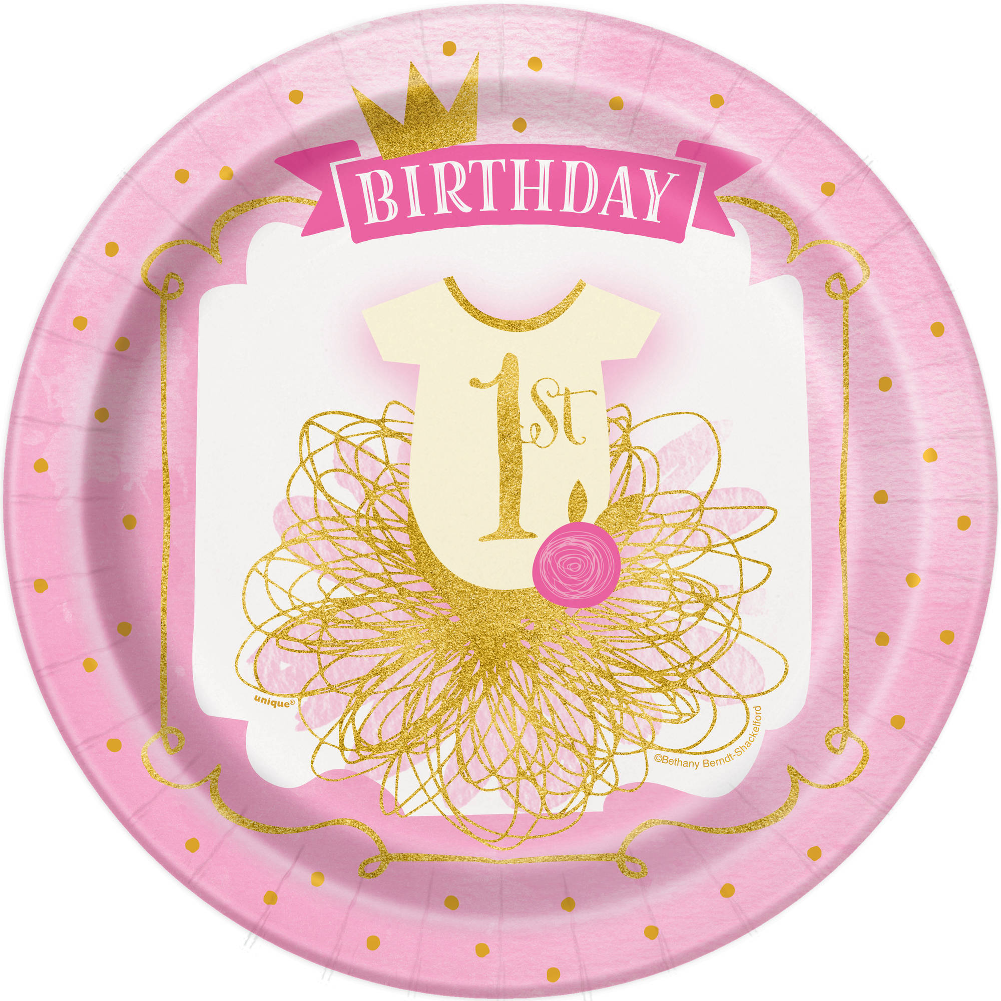 "9"" Pink and Gold Girls First Birthday Party Plates, 8ct"