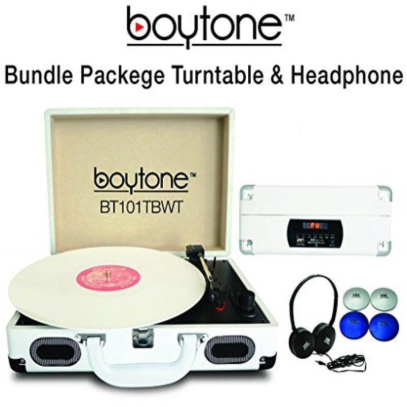 Boytone Bundle Package BT-101TBWT Turntable, AC-DC Built in Rechargeable Battery, 2 Speakers, 3 Speed, LCD Display, FM Radio, USB/SD Slot, AUX + MP3 Encoding, Comes complimentary headphone