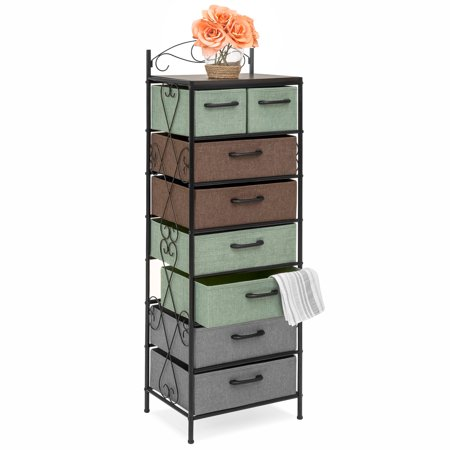 Best Choice Products 8-Drawer Storage Organization Tower Cabinet for Bedroom, Living Room w/ Metal Frame, Polyester Drawers, Multicolor ()