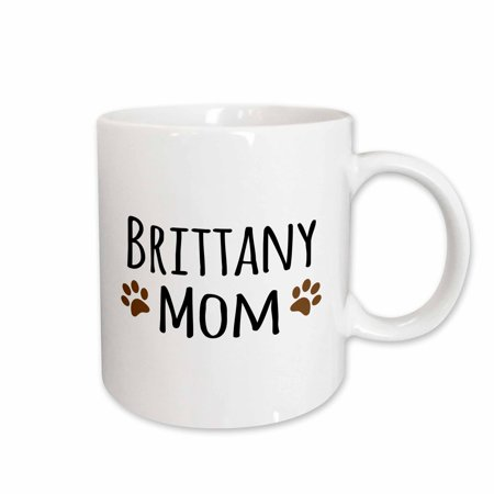 3dRose Brittany Spaniel Dog Mom - Doggie by breed - brown muddy paw prints love doggy lover mama pet owner - Ceramic Mug,