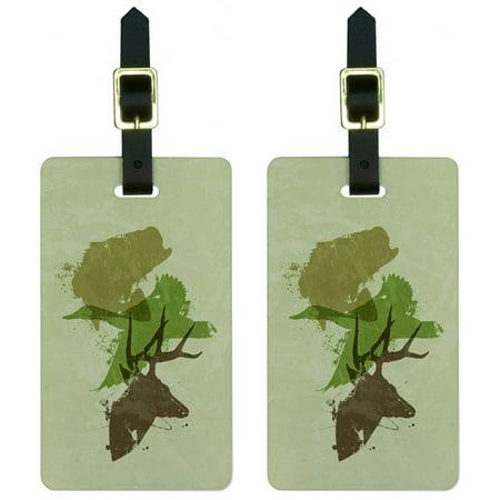 - Hunting Fishing Design Hunter Deer Duck Bass Trout Camouflage Luggage Tags Set