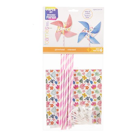 Create a summer project for kids with this paper pinwheel kit. It's a complete set of materials to create colorful pinwheels that are great for outdoor - Pinwheel Craft