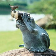 San Pacific International Frog Spectator with Bird Garden Stature