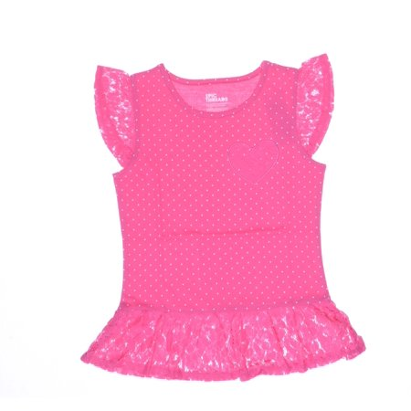 Epic Threads Little Girls Dotted Lace-Trim Fuchsia Size 5