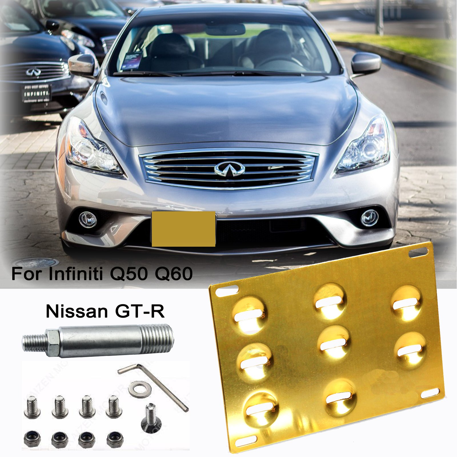 JDM Gold Track Racing Style Tow Hook for 2014-up Infiniti Q50 Q60