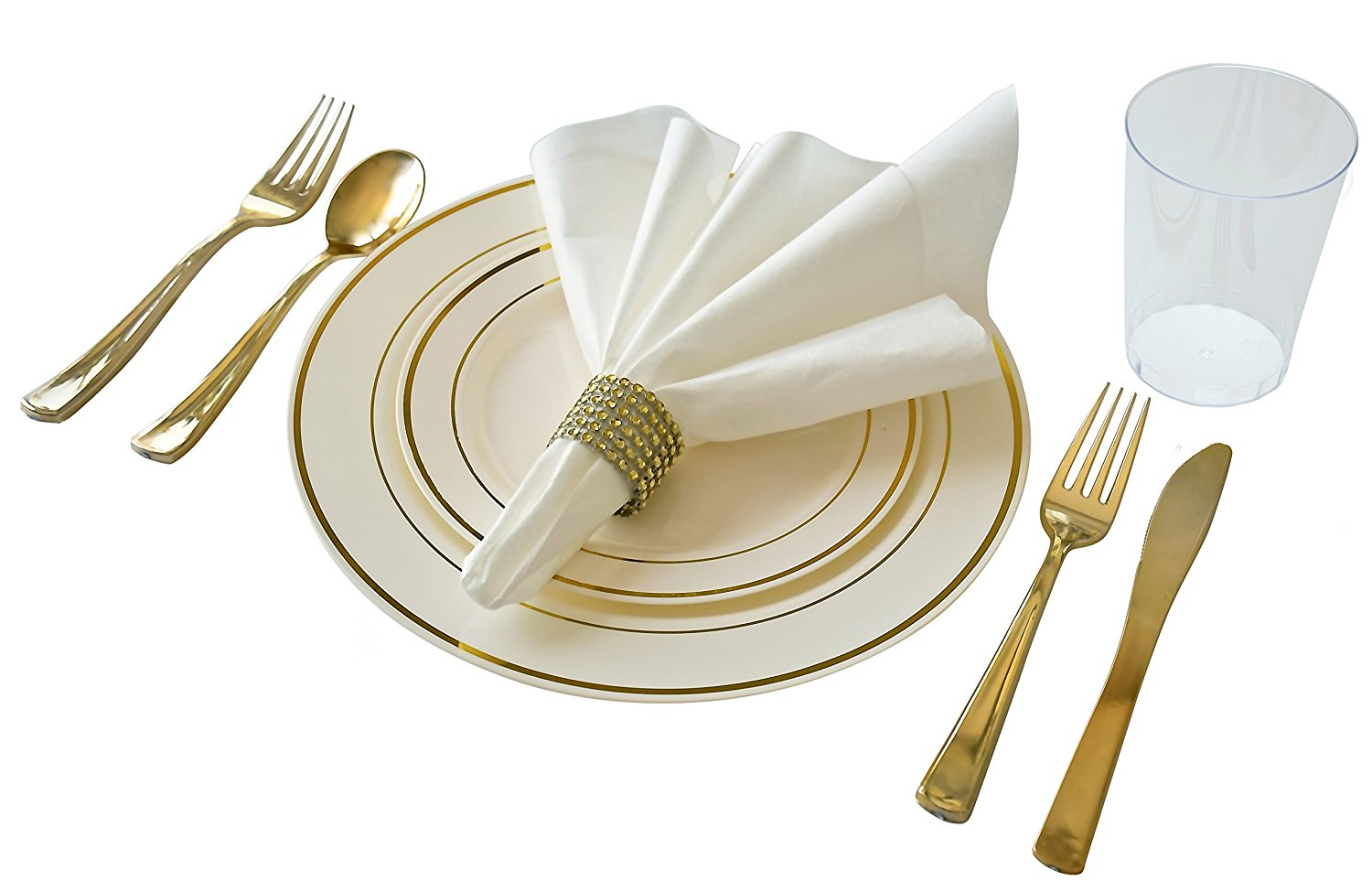 OCCASIONS   Full set - Wedding Disposable Plastic Plates plastic silverware tumblers and.    sc 1 st  Walmart : wedding plates and silverware disposable - pezcame.com