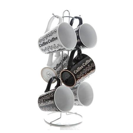 Gibson Home Night and Day 6 Piece Mug Set with Rack - Diy Mugs