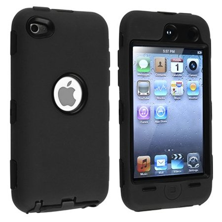 Hybrid Armor Case Cover compatible with Apple iPod touch 4th Generation, Black Hard / Black Skin ()