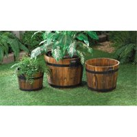 Zingz & Thingz 57070000 Fir Wood Apple Barrel Wooden Planter Trio